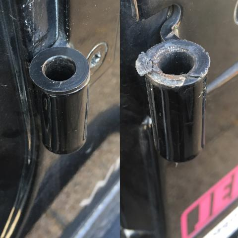 Kikbax New Door Hinge Bushing on the Left.  Original on the right.